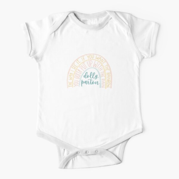 Dolly Parton Rainbow Quote Short Sleeve Baby One-Piece