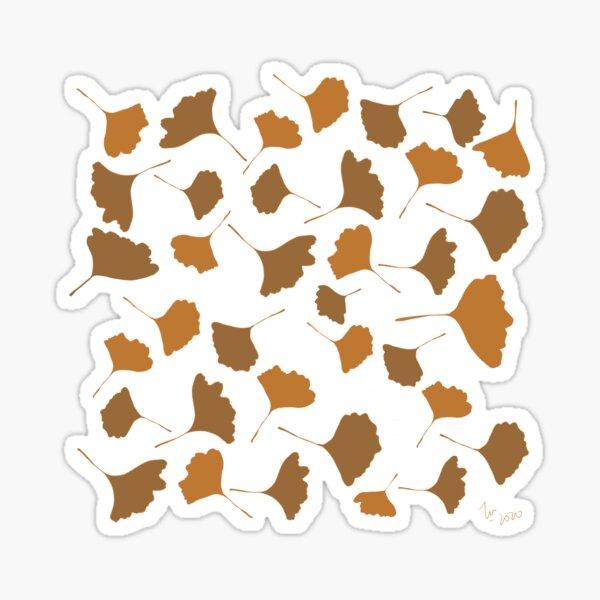 Golden ginko leaves Autumn digital illustration Sticker