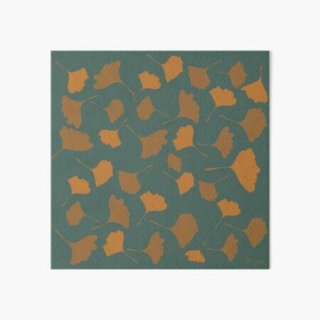 Golden ginko leaves  with green background Autumn digital illustration Art Board Print
