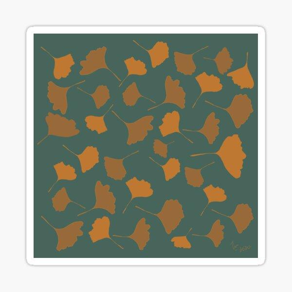 Golden ginko leaves  with green background Autumn digital illustration Sticker