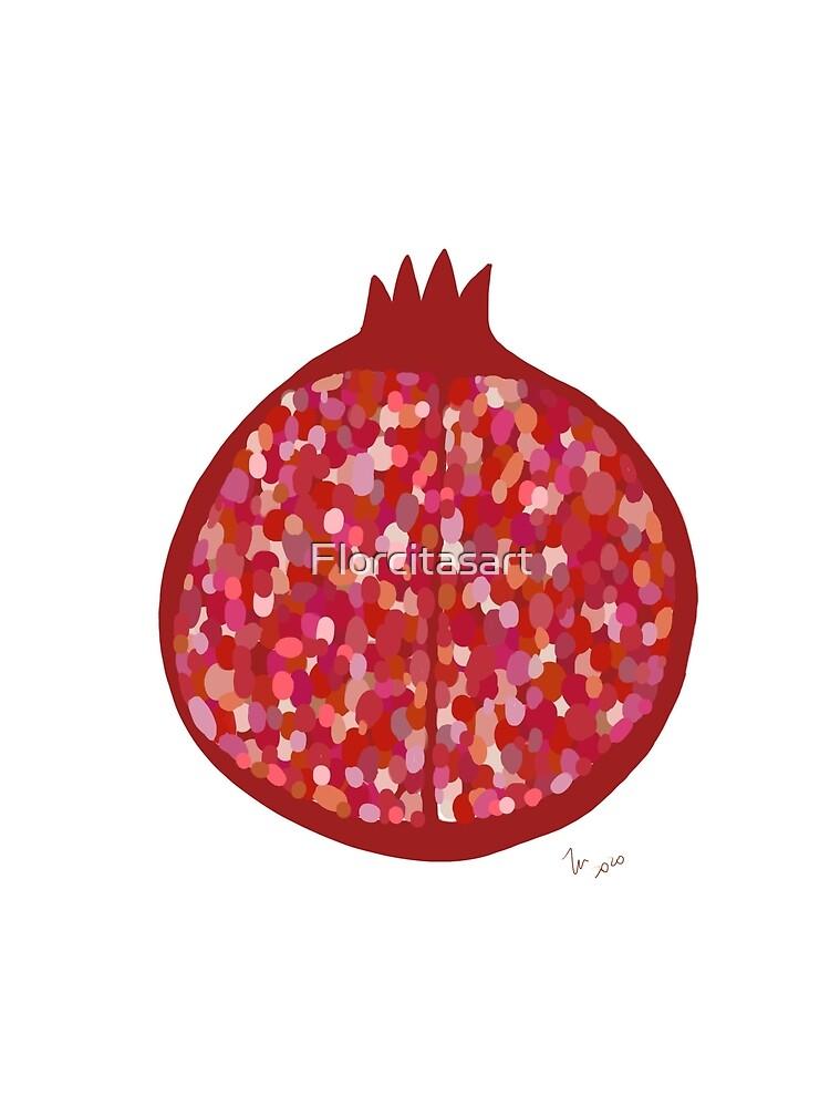 Pomegranate fruit digital art food illustration by Florcitasart