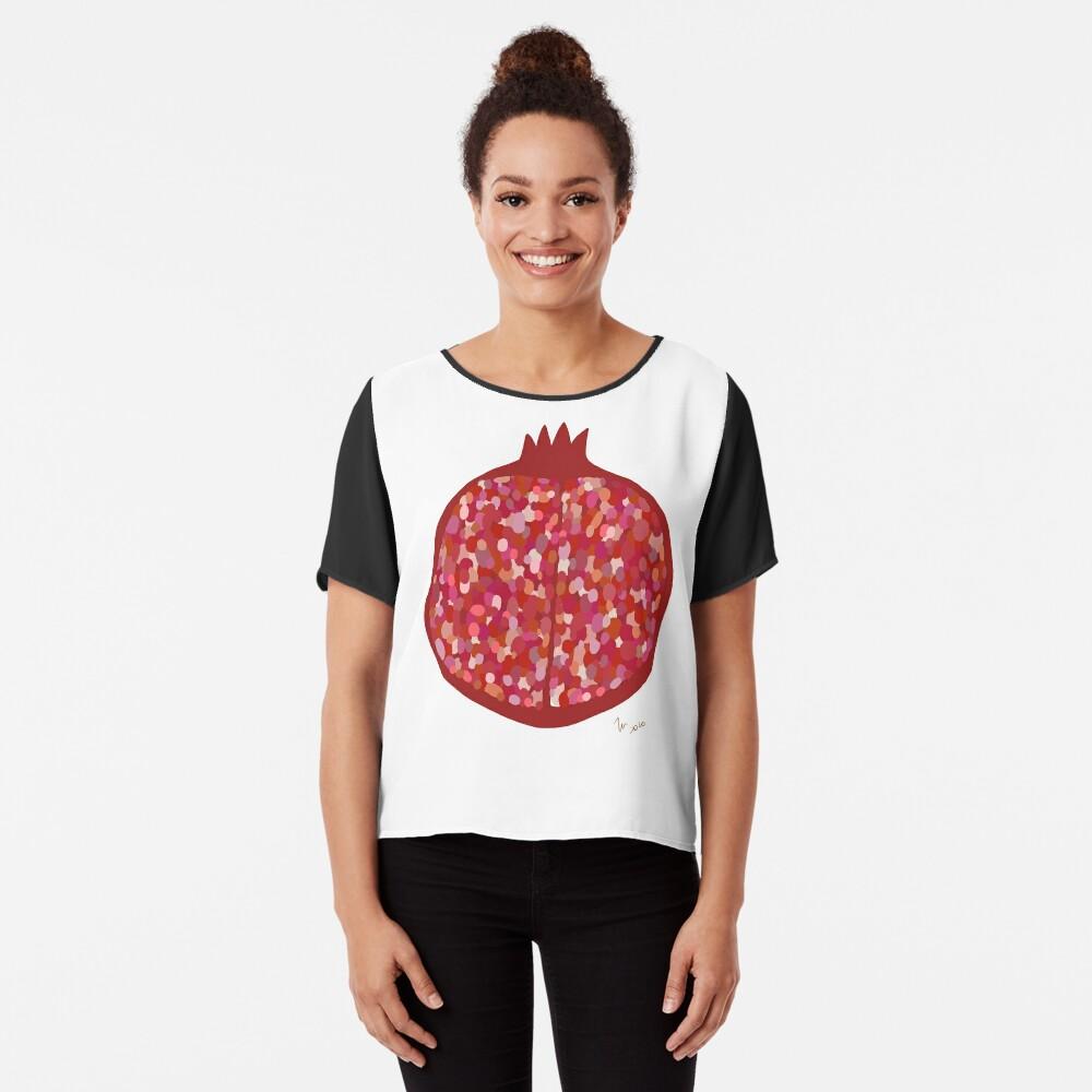 Pomegranate fruit digital art food illustration Chiffon Top