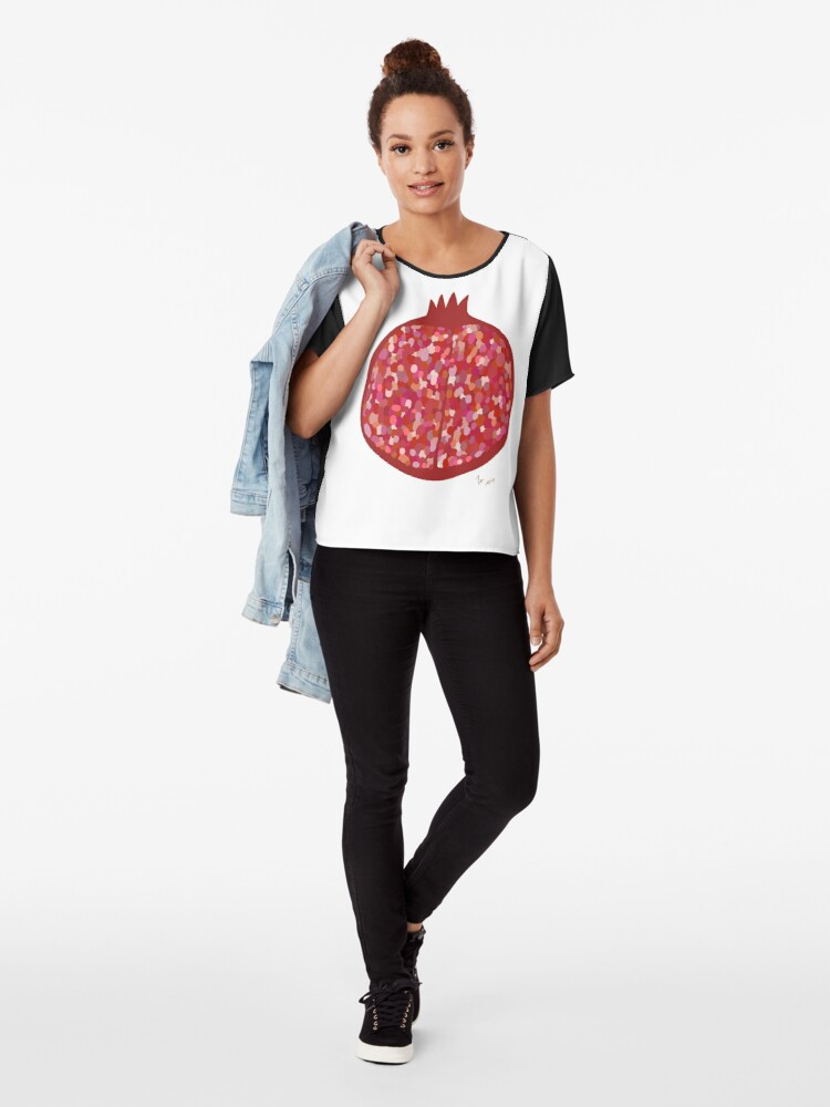 Alternate view of Pomegranate fruit digital art food illustration Chiffon Top