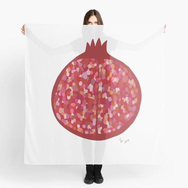 Pomegranate fruit digital art food illustration Scarf