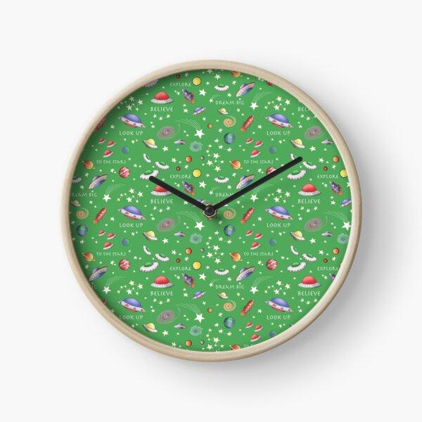 Green UFO Design Clock