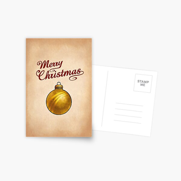Christmas Bauble Gold Greeting Postcard