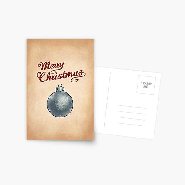 Christmas Bauble Silver Greeting Postcard