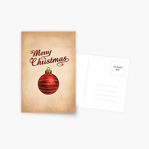 Christmas Bauble Red Greeting Postcard