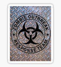 Zombie Outbreak Response Team on Diamond Plate Sticker