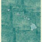Hawaii State Map Blue Vintage by HubertRoguski