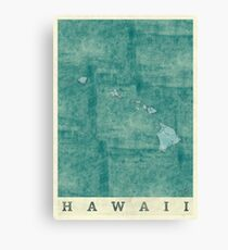 Hawaii State Map Blue Vintage Canvas Print