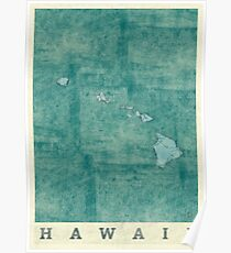 Hawaii State Map Blue Vintage Poster