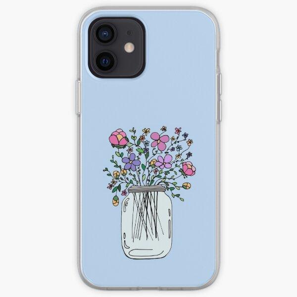 Pot Mason avec des fleurs Coque souple iPhone