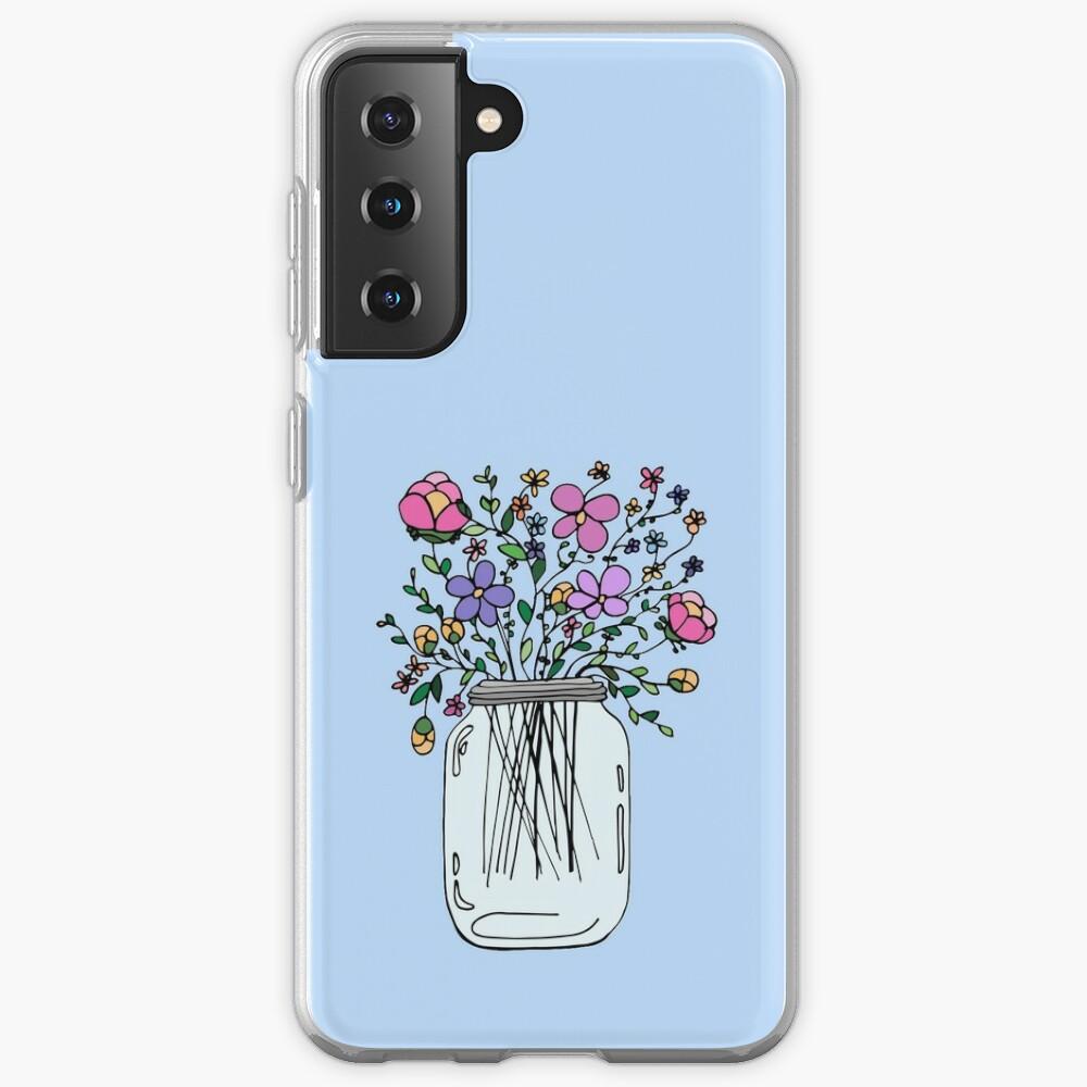 Mason Jar with Flowers Case & Skin for Samsung Galaxy