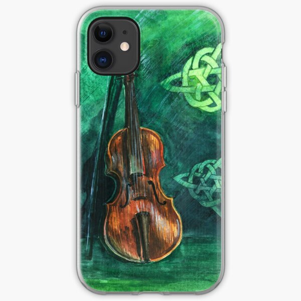 Irish violin (fiddle) on emerald background with celtic ornament iPhone Soft Case