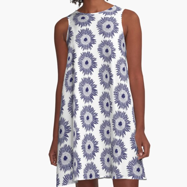 Rustic Boho Navy Blue and White Sunflowers Pattern A-Line Dress