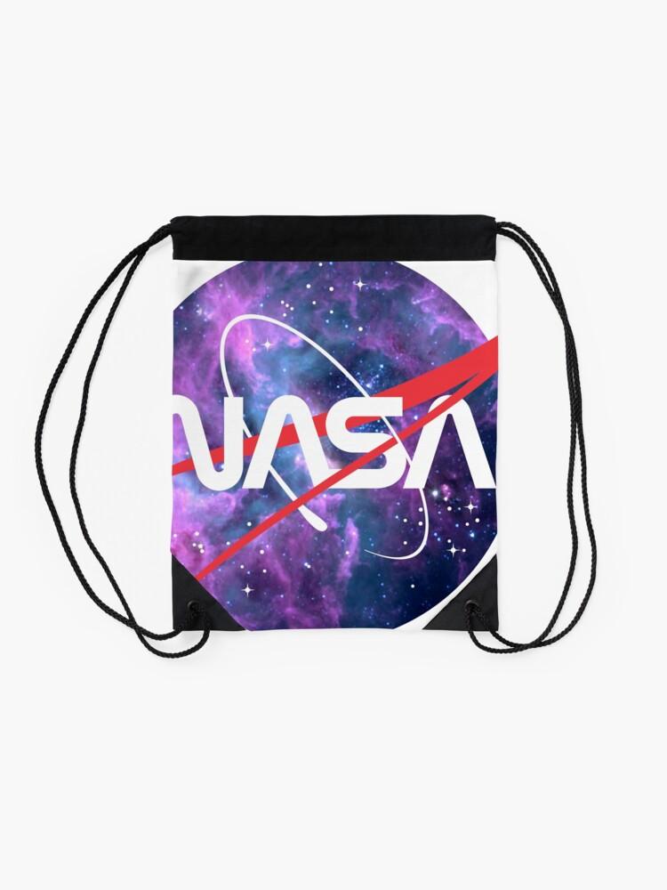 Alternate view of NASA Retro Nebula Logo Drawstring Bag