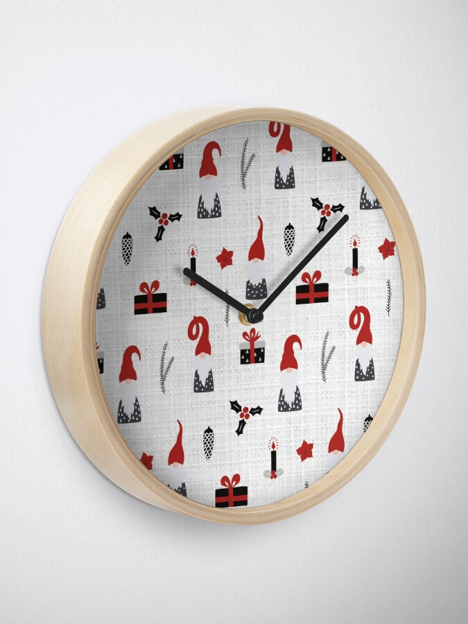Alternate view of Scandinavian Christmas pattern on linen Clock