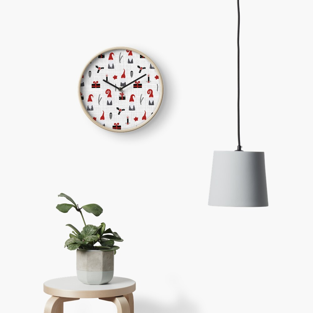 Scandinavian Christmas pattern on linen Clock