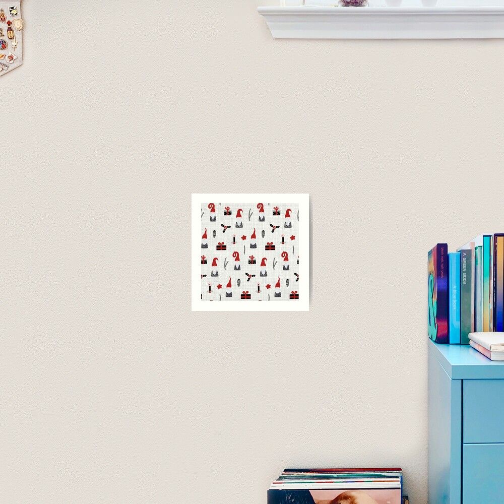 Scandinavian Christmas pattern on linen Art Print