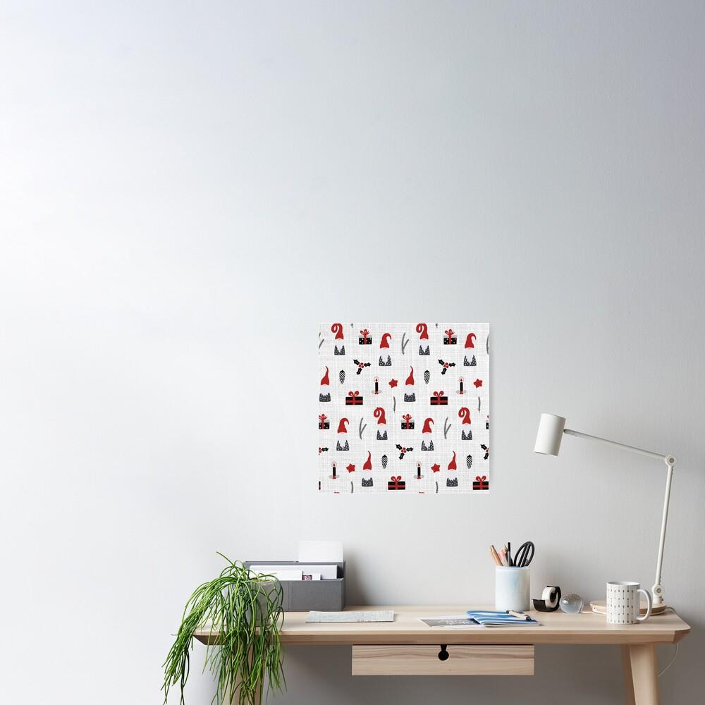 Scandinavian Christmas pattern on linen Poster