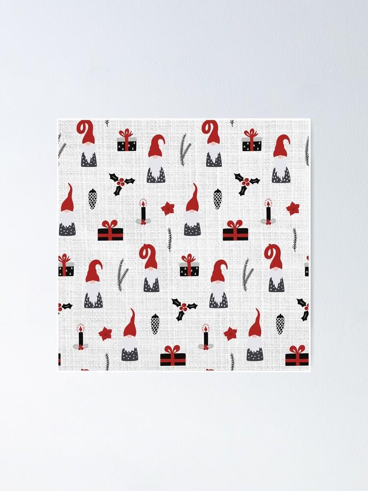 Alternate view of Scandinavian Christmas pattern on linen Poster