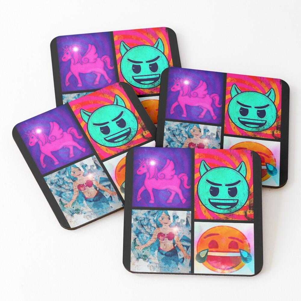 emoji Pop Art Coasters (Set of 4)