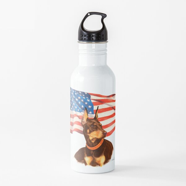 """""""Home of the Brave"""" - red Doberman Water Bottle"""