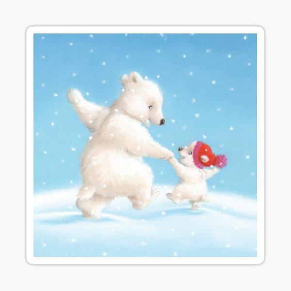 Polar Bears Dancing in the Snow Sticker