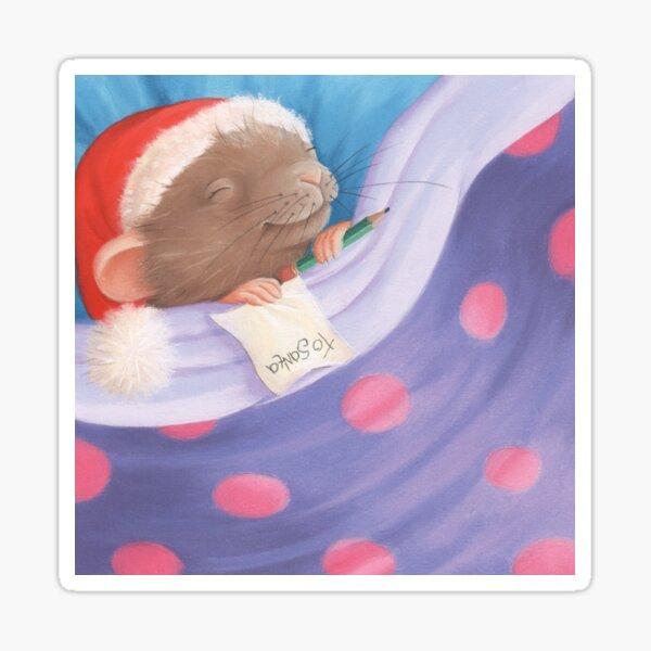 Christmas Night Sleeping Mouse Sticker