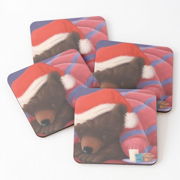 Christmas Sleeping Bear  Coasters (Set of 4)
