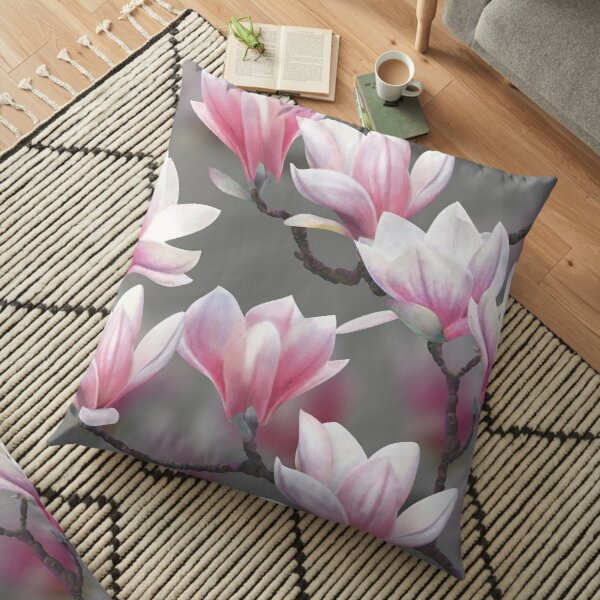 Pink Magnolia Blossom Floor Pillow