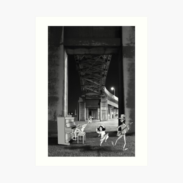 Dancing under the bridge Art Print