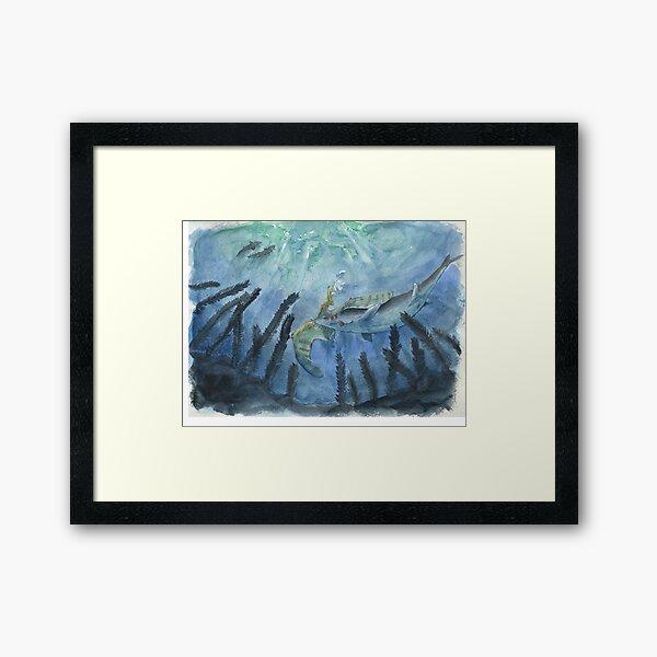 Clidastes and Pteranodon  Framed Art Print