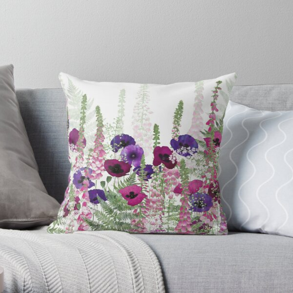Purple Poppies, Pink Foxgloves & Ferns Throw Pillow