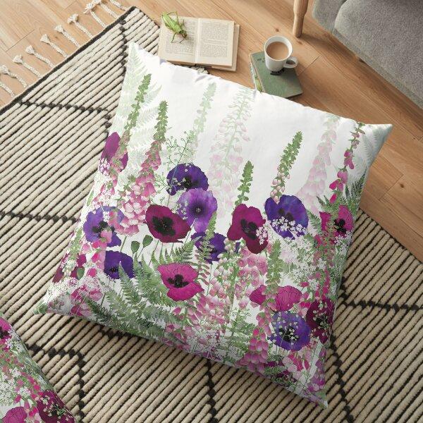 Purple Poppies, Pink Foxgloves & Ferns Floor Pillow