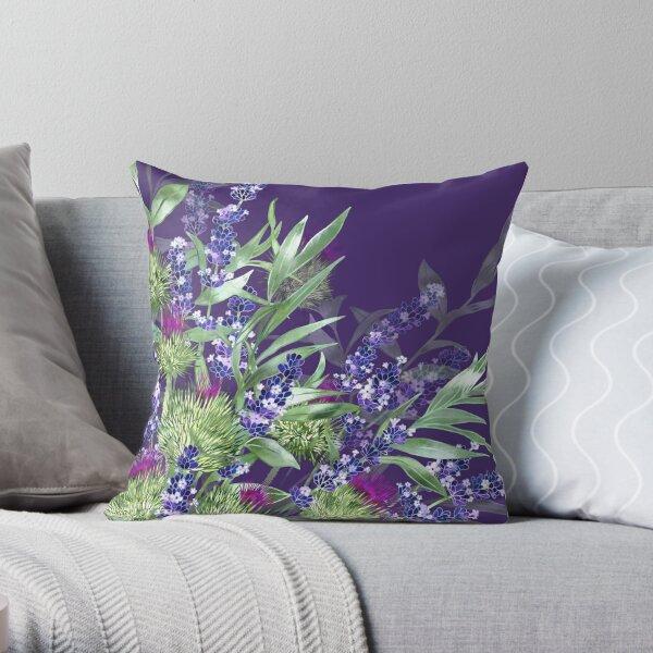 Thistles & Lavender Throw Pillow
