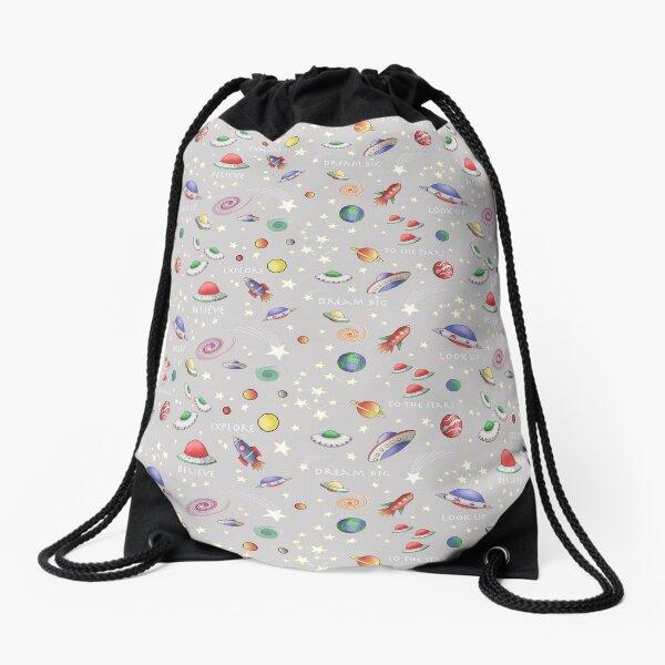 Grey UFO Design Drawstring Bag