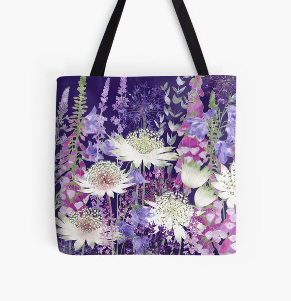 Flower Garden - Astrantia, Campanula, Harebells, Foxgloves & Alliums All Over Print Tote Bag