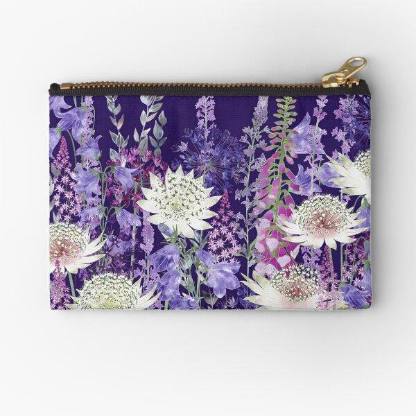 Flower Garden - Astrantia, Campanula, Harebells, Foxgloves & Alliums Zipper Pouch