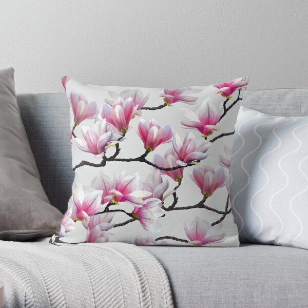 Pink Springtime Magnolia Blossom Throw Pillow