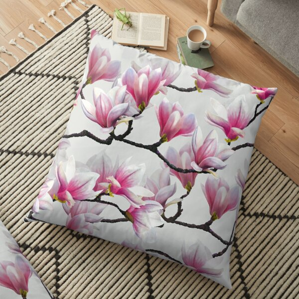 Pink Springtime Magnolia Blossom Floor Pillow
