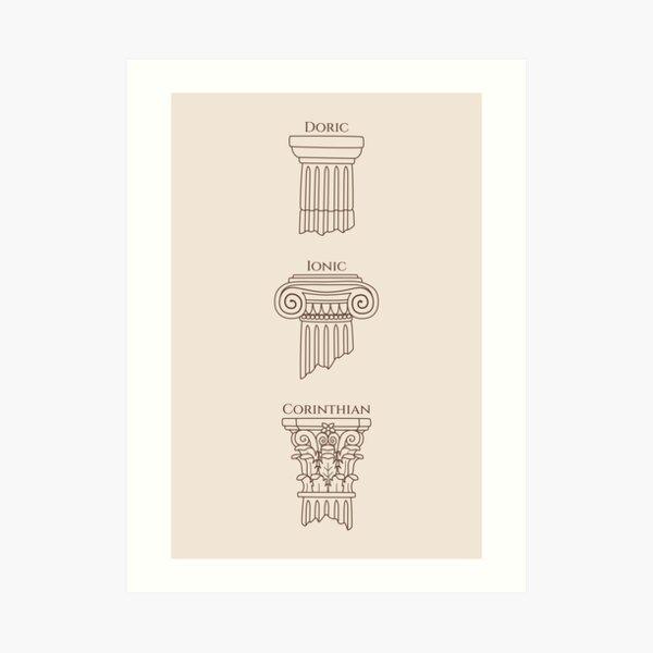 Dark Academia: Greek Column Pattern (ver. 1) Art Print