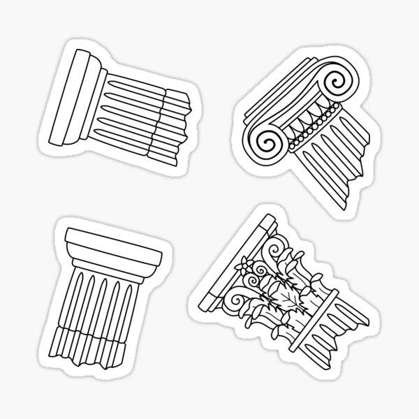 Dark Academia: Greek Column Pattern (ver. 1) Sticker