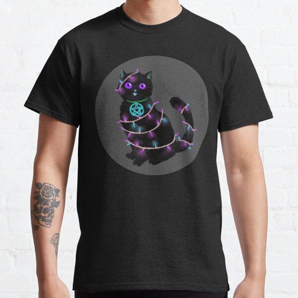 Katze Weihnachten Lichterkette mit grauem Kreis Classic T-Shirt