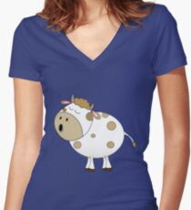 Cute Moo Cow Cartoon Animal Women's Fitted V-Neck T-Shirt