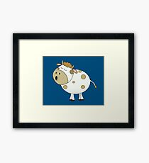 Cute Moo Cow Cartoon Animal Framed Print