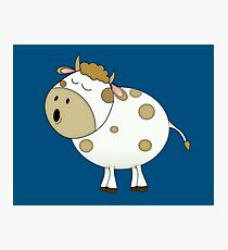 Cute Moo Cow Cartoon Animal Photographic Print