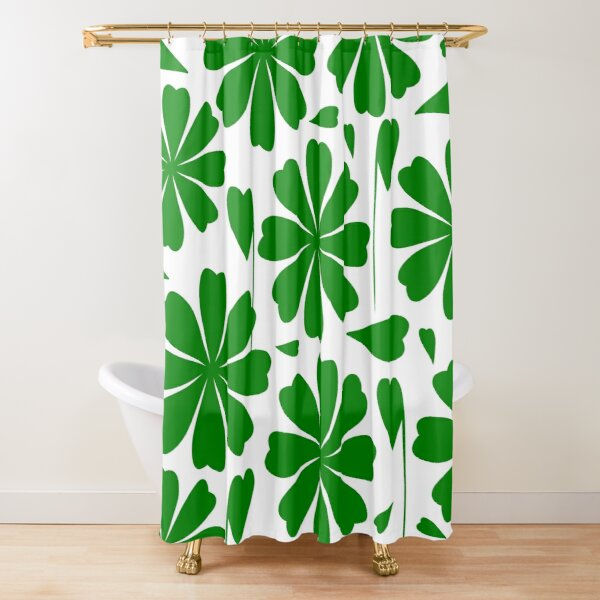 Giant green flowers with heart-shaped petals Shower Curtain