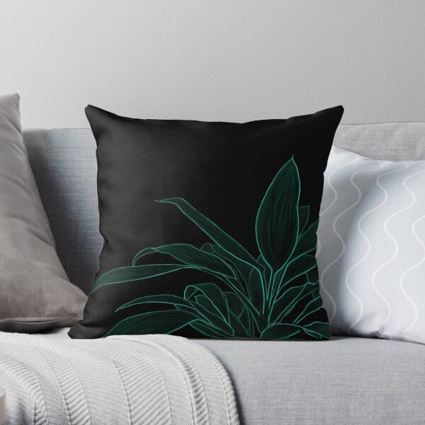 Abstract Plant Art   Green Plant Throw Pillow